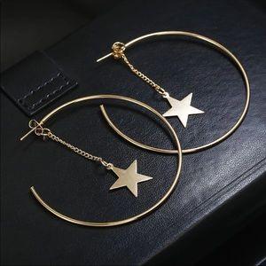 Jewelry - NEW GOLD HOOPS W/ STAR EAR JACKETS EARRINGS